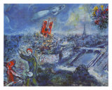 View of Paris Plakater af Marc Chagall