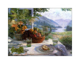 Fruit in an Olive Wood Bowl Poster by Stephen Darbishire