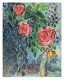 Blumen und Liebespaar Poster von Marc Chagall