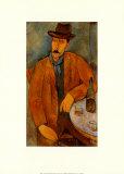 Mann mit Weinglas Kunstdrucke von Amedeo Modigliani