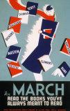 Poster d'epoca miranti a promuovere la lettura - A marzo leggi i libri che hai sempre voluto leggere Stampe