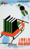 Poster d'epoca miranti a promuovere la lettura - Gennaio: ti aspetta un anno di buone letture Poster