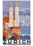 Zurich Metropolis Kunstdruck von Otto Baumberger
