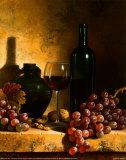 Botella de vino, uvas y nueces Póster por Loran Speck