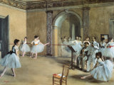 The Dance Foyer at the Opera on the Rue Le Peletier Affiches van Edgar Degas
