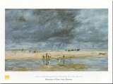 Figures On Beach Poster by Eugène Boudin