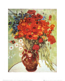 Vase with Daisies and Poppies Kunst av Vincent van Gogh