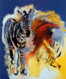 Zebra And Colours Prints by Carlos Blaaker