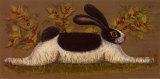 Green Folk Bunny Posters by Lisa Hilliker