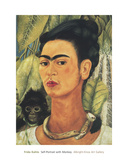Self-Portrait with Monkey, c.1938 Posters av Frida Kahlo