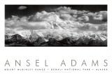 Mont McKinley, nuages, parc national de Denali, Alaska, 1948 Posters par Ansel Adams