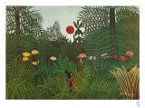 Jungle Sunset Posters av Henri Rousseau