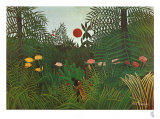 Jungle Sunset Art by Henri Rousseau