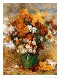 Vase of Chrysanthemums Poster por Pierre-Auguste Renoir