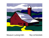 Red Barn II, 1969 Serigrafiprint (silkscreentryck) av Roy Lichtenstein