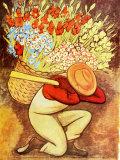 Der Blumenträger Poster von Diego Rivera