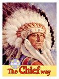 Santa Fe Railroad, Indian Chief, 1955 Giclee Print