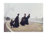 A Walk, 1874 Giclée-tryk af Giuseppe De Nittis