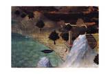 Castle by the Lake Giclée-tryk af Ambrogio Lorenzetti