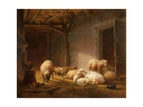 A Sunlit Barn with Ewes, Lambs and Chickens Giclée-tryk af Eugene Joseph Verboeckhoven