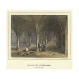 Rochester Cathedral, View of the Crypt Reproduction procédé giclée par Hablot Knight Browne