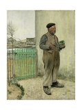 Man Having Just Painted His Fence Giclee Print by Jean Francois Raffaelli