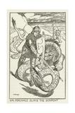 Sir Percivale Slays the Serpent Lámina giclée por Henry Justice Ford