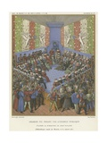 Charles VII Holding a Public Audience Giclee Print by Jean Fouquet
