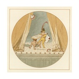 Two Young Children Fighting on Stage Giclee Print by Robert Dudley