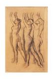 Three Dancers in Bodysuits, with Raised Arms Giclee-trykk av Edgar Degas