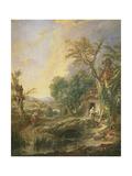 Landscape with a Hermit, 1742 Reproduction procédé giclée par Francois Boucher