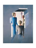 Four Figures and a Cube, 1928 Giclee Print by Oskar Schlemmer