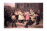 Children Dancing in the Street, 1894 Gicléedruk van John George Brown