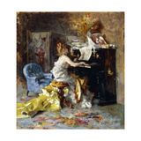 Woman at a Piano Giclée-tryk af Giovanni Boldini