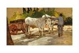 Oxen in Yard Lámina giclée por Giovanni Fattori