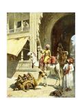 Indian Scene, 1884-89 Gicléedruk van Edwin Lord Weeks