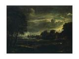 Village in Moonlight Giclee Print by Aert van der Neer