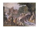 Hunting Scene, Fresco Giclée-tryk af Antonio Tempesta