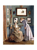 Women with a Japanese Doll, 1894 Giclee Print by Alfred Emile Léopold Stevens