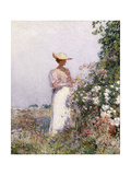 Lady in Flower Garden Giclee Print by Childe Hassam