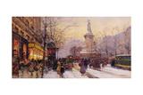 Winter Paris Street Scene Reproduction procédé giclée par Eugene Galien-Laloue