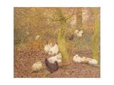 Poultry in a Wood, C.1890 Giclee Print by Emile Claus