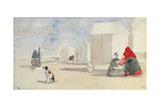 By the Bathing Machines, 1866 Reproduction procédé giclée par Eugène Boudin