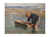 Bailing Out the Boat Gicléetryck av William Marshall Brown