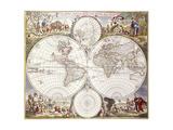 World Map from Atlas Maior, C.1705 Reproduction procédé giclée par Frederick de Wit