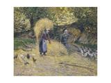 Peasants Heaving Straw, Montfoucault, 1875 Reproduction procédé giclée par Camille Pissarro