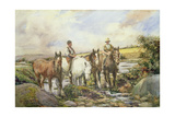 Horses Watering Giclee Print by Henry Meynell Rheam