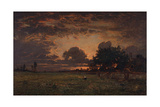 Sunset over the Plain of Barbizon Giclee Print by Théodore Rousseau