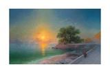 Promenade at Sunset, 1869 Giclée-tryk af Ivan Konstantinovich Aivazovsky