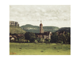 View of Ornans and its Bell Tower, C.1858 Reproduction procédé giclée par Gustave Courbet